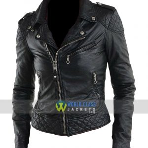 Women Real Black Leather Biker Jacket