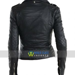 Women Real Leather Biker Black Jacket