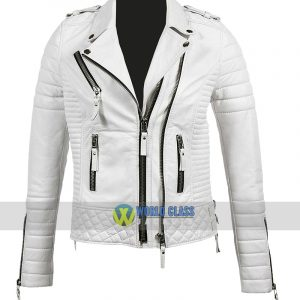 Women Real White Leather Slim Fit Biker Jacket