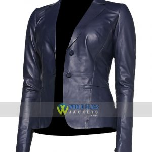 Women Slim Fit 2 Button Blue Leather Office Blazer