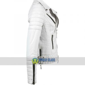Women Slim Fit Biker Real White Leather Jacket