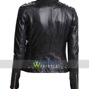 Women Slim Fit Black Cafe Racer Leather Jacket