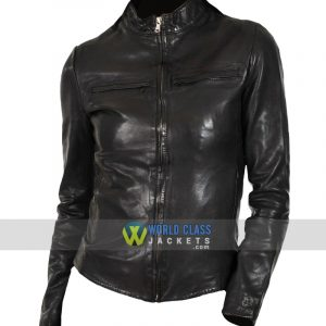 Women Slim Fit Black Moto Biker Real Leather Jacket