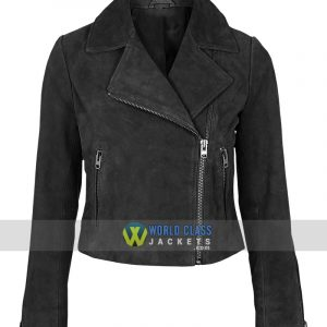 Women Slim Fit Black Suede Leather Biker Jacket