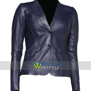 Women Slim Fit Blue Leather 2 Button Office Blazer
