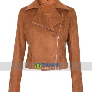 Women Slim Fit Brown Suede Leather Biker Jacket