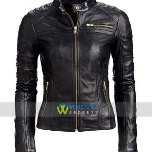 Women Slim Fit Cafe Racer Black Leather Jacket