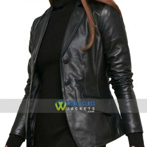 Women Slim Fit Casual Black Leather Office Blazer