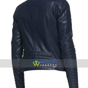 Women Slim Fit Casual Collarless Blue Leather Jacket