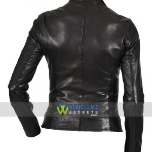 Women Slim Fit Moto Biker Real Black Leather Jacket