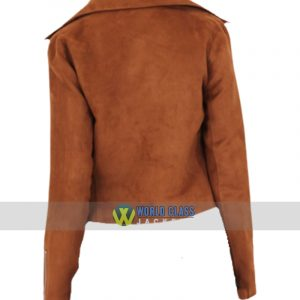 Women Slim Fit Suede Brown Leather Biker Jacket