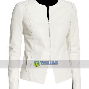 Women Stylish Casual Collarless White Leather Slim Fit Jacket