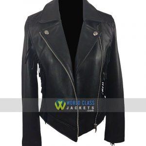 Womens Black Leather Fringe Biker Jacket