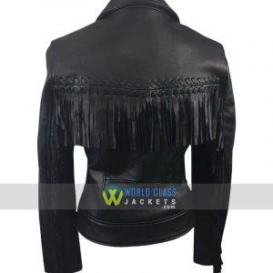 Womens Fringe Black Leather Biker Jacket