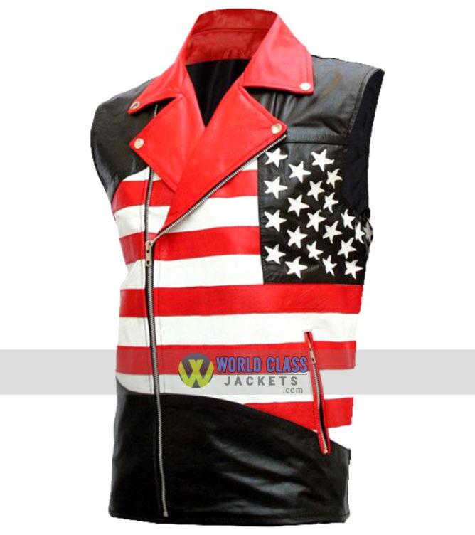 American Flag Mens Biker Leather Sleeveless Jacket