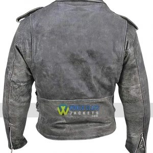 Belted Men's Biker Distressed Leather Jacket