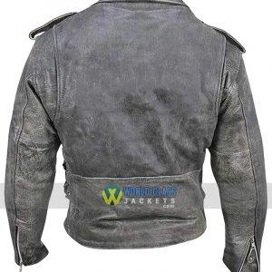 Belted Men's Biker Distressed Leather Jacket