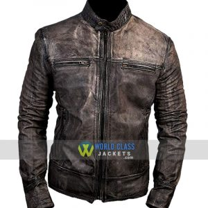 Cafe Racer Retro Distressed Vintage Moto Black Leather Jacket