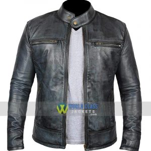 Cafe Racer Retro Distressed Vintage Moto Black Real Leather Jacket