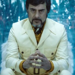Jemaine Clement Oliver Bird Legion White Leather Coat