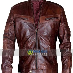 Men Motorcycle Vintage Distressed Brown Biker Quilted Cafe Racer Retro Leather Jacket