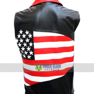 Mens American Flag Biker Leather Sleeveless Jacket