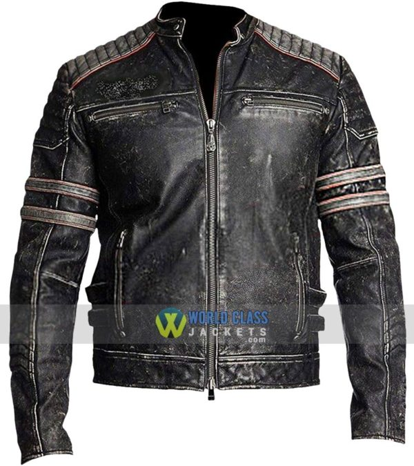Mens Cafe Racer Brando Motorcycle Retro Biker Leather Jacket