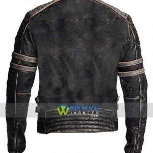 Mens Cafe Racer Brando Retro Biker Leather Jacket