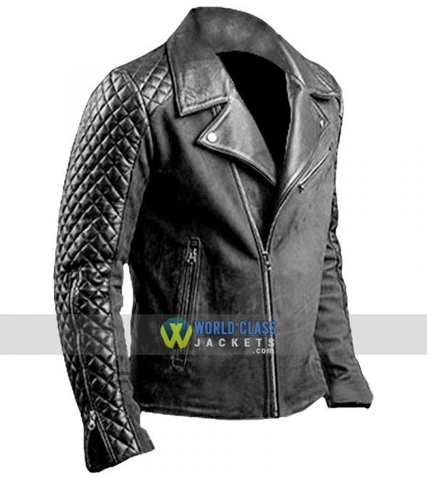 Mens Cafe Racer Stylish Biker Black Distressed Leather Jacket