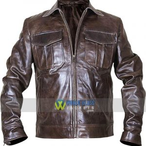 Mens Classic Copper Rub Off Brown Distressed Vintage Motorcycle Rider Leather Jacket
