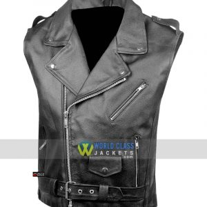 Men's Classic Leather Motorcycle Biker Concealed Carry Black Vintage Vest