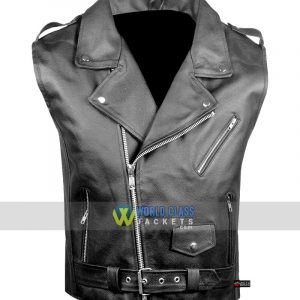 Men's Classic Leather Motorcycle Biker Concealed Carry Vintage Black Vest