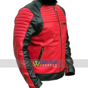 Men's Quilted Red and Black Faux Leather Designer Biker Jacket