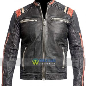Mens Retro Vintage Cafe Racer Distressed Black Biker Motorcycle Real Leather Jacket