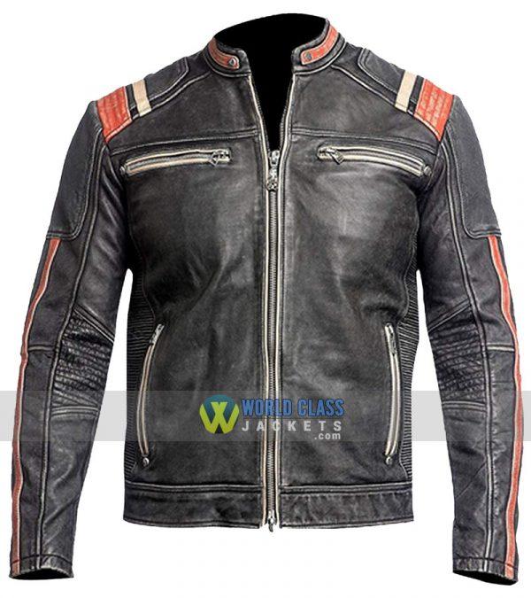 Mens Retro Vintage Cafe Racer Distressed Black Biker Motorcycle Real Leather Jacket