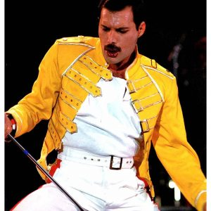 Mens Stylish Freddie Mercury Concert Strap Yellow Leather Jacket