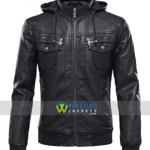 Men's Tanming Black Leather Jacket With Removable Fur Hood