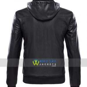 Men's Tanming With Removable Fur Hood Black Leather Jacket
