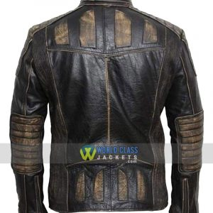 Mens Vintage Distressed Faded Seams Cafe Racer Genuine Distressed Leather Jacket