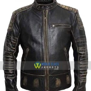 Mens Vintage Distressed Faded Seams Cafe Racer Genuine Leather Jacket