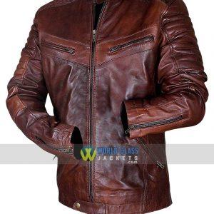 Retro Men Motorcycle Vintage Distressed Brown Biker Quilted Cafe Racer Leather Jacket