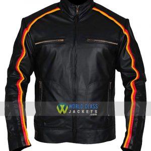 WWE Smack Down Dean Ambrose Striped Black Leather Jacket