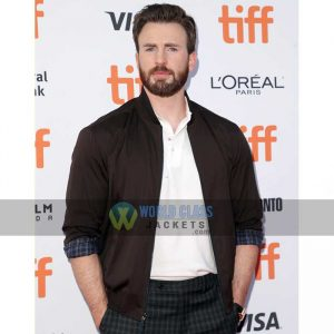 Buy Chris Evans Bomber Leather Jacket at $50 Off Sale