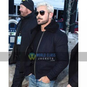 Buy Zac Efron Navy Bomber Jacket at $60 Off Sale