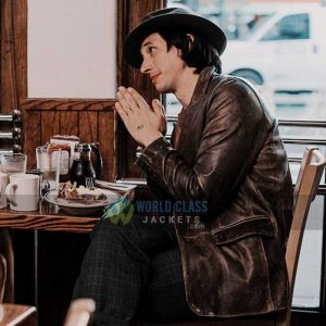 Buy Distressed Brown Leather Blazer of Adam Driver at 31%Off Price