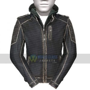 Joker The Killing Jacket Suicide Squad Real Distress Leather With Hood
