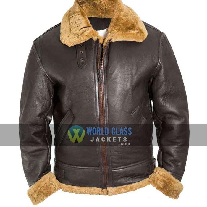 Mens B3 WW2 Brown Fur Bomber Leather Jacket On Sale