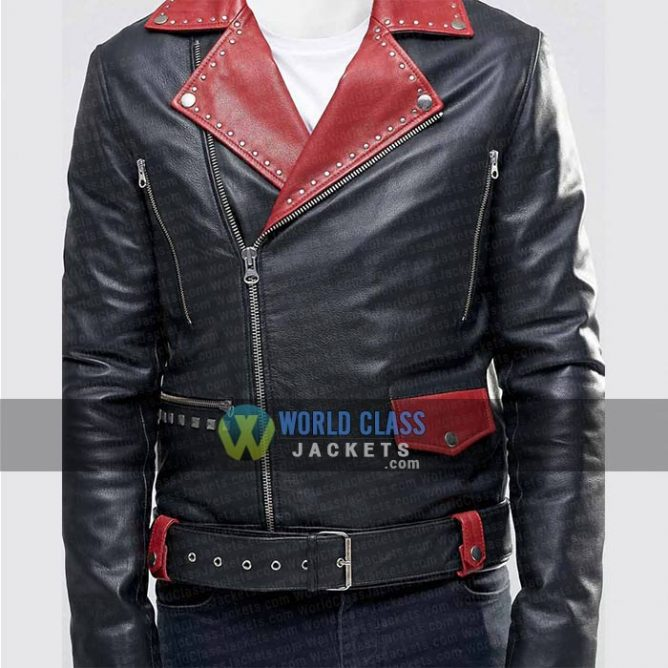 Mens Black And Red Lapel Collar Slim Fit Leather Jacket Sale