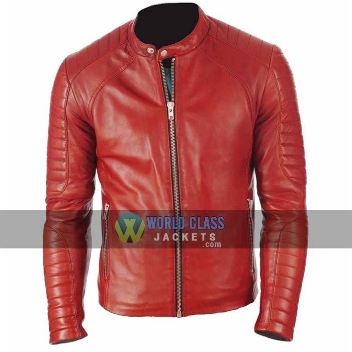 Mens Red Cafe Racer Slim Fit Leather Jacket On Off Price